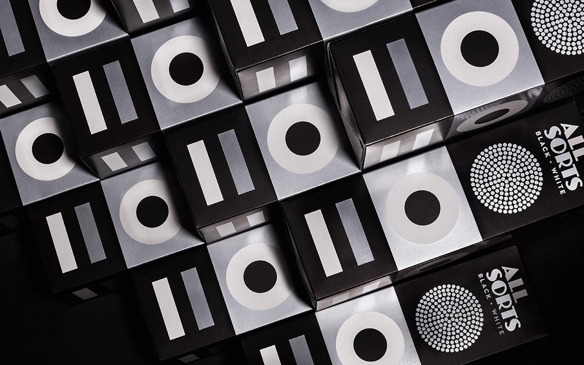 Allsorts Black and White packaging