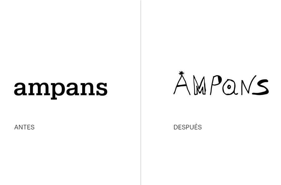 Ampans logo before and after