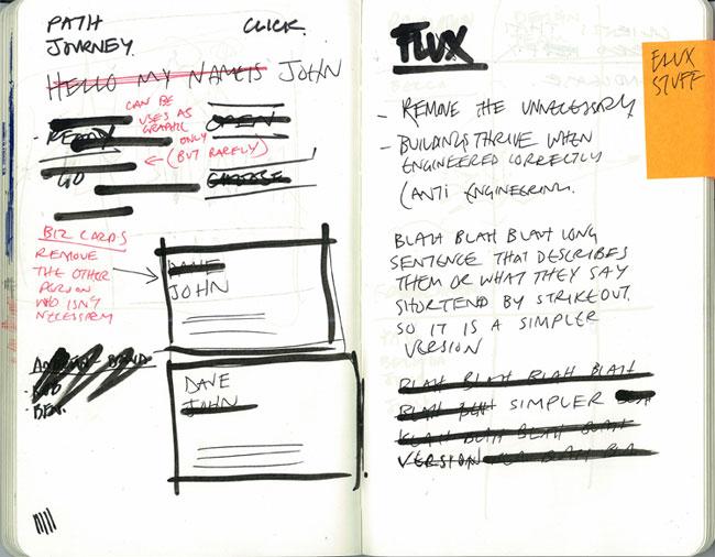 Flux brand identity sketch