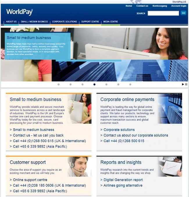 Worldpay old website