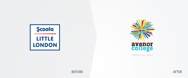 Avenor College logo before and after