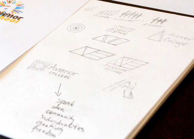 Avenor College logo sketches