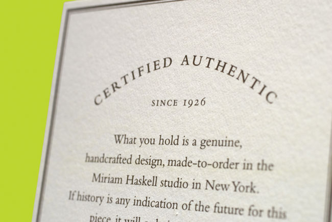Miriam Haskell certificate