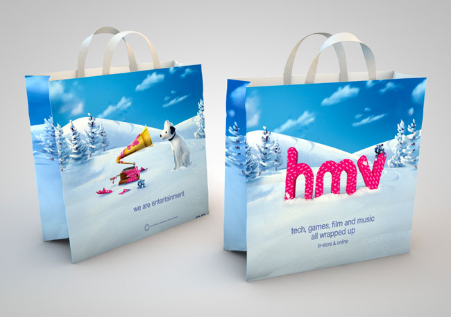hmv Nipper and Gramophone bags