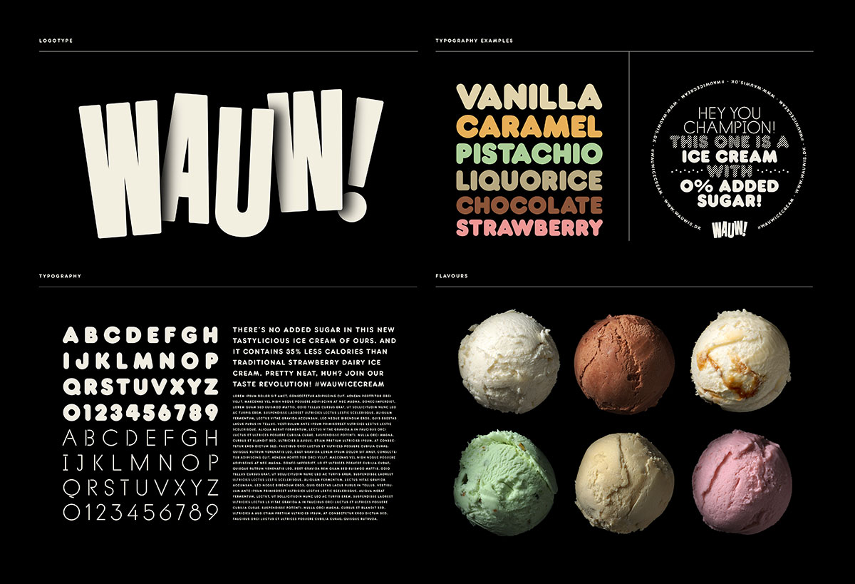 Wauw ice cream identity