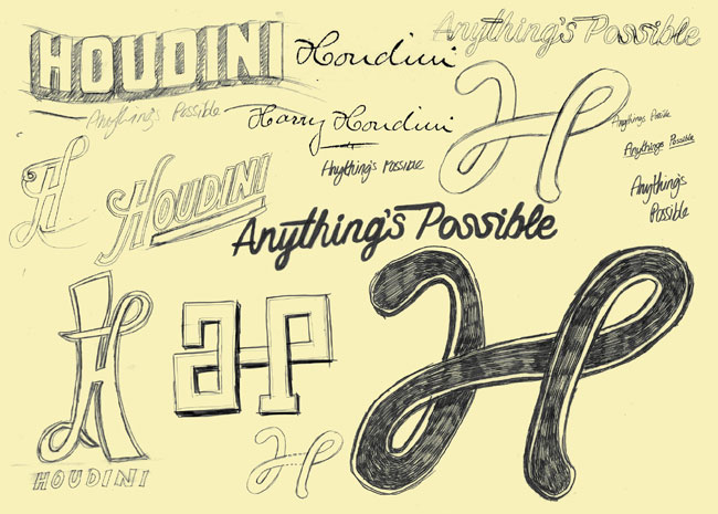 Houdini logo sketches