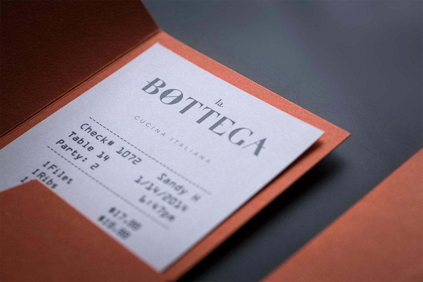 La Bottega receipt