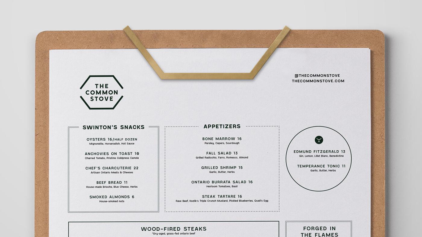 The Common Stove menu